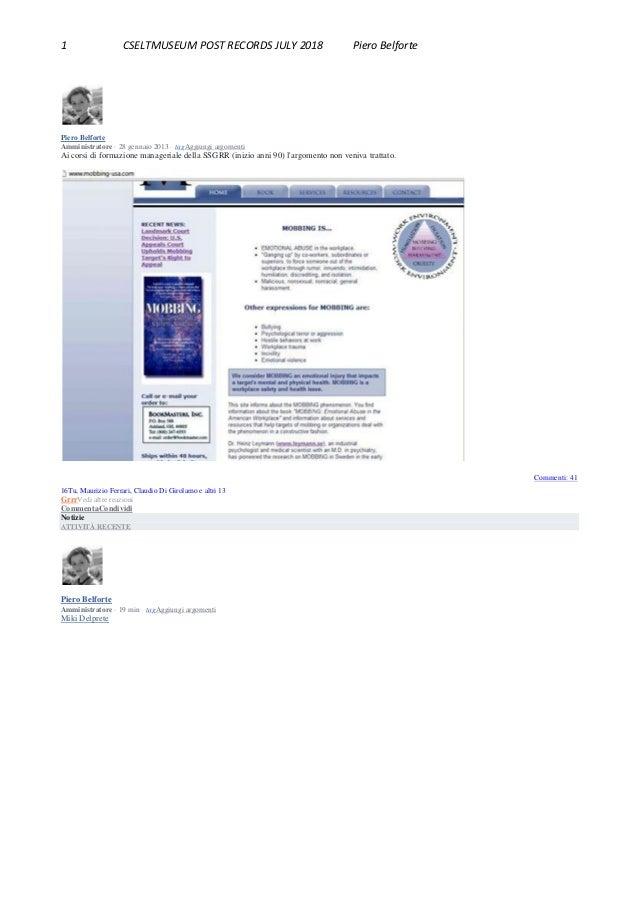 1 CSELTMUSEUM POST RECORDS JULY 2018 Piero Belforte Piero Belforte Amministratore · 28 gennaio 2013 · tagAggiungi argoment...