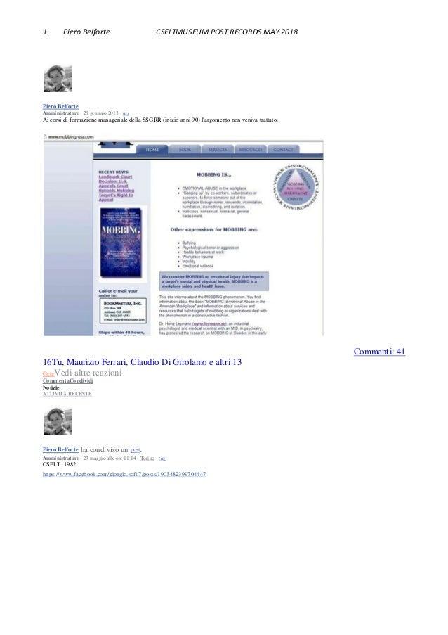 1 Piero Belforte CSELTMUSEUM POST RECORDS MAY 2018 Piero Belforte Amministratore · 28 gennaio 2013 · tag Ai corsi di forma...