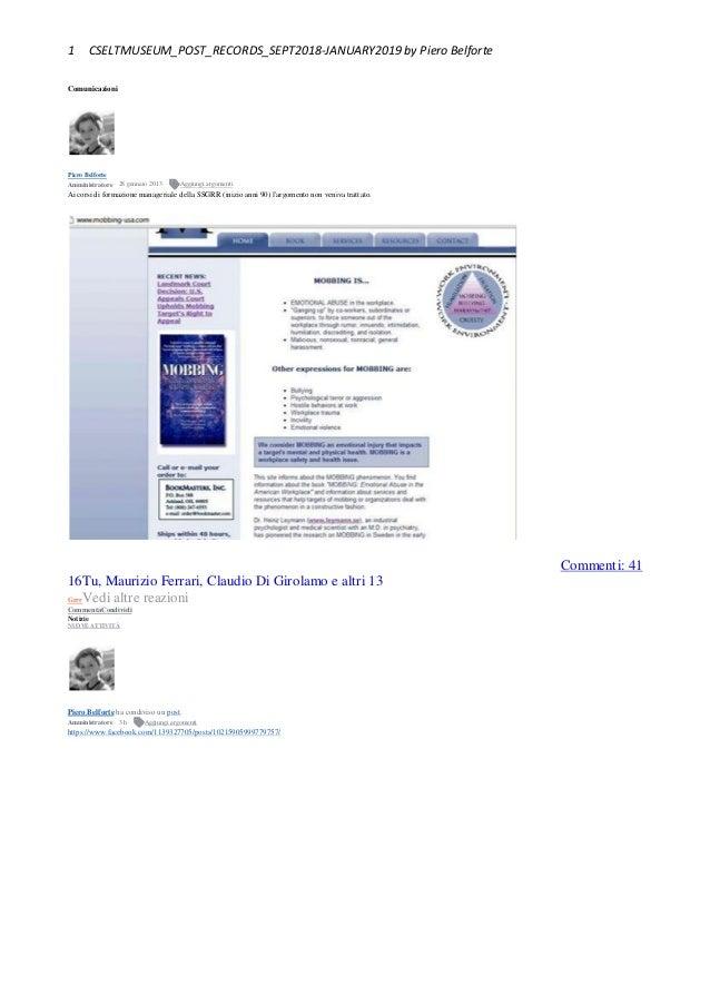 1 CSELTMUSEUM_POST_RECORDS_SEPT2018-JANUARY2019 by Piero Belforte Comunicazioni Piero Belforte Amministratore · 28 gennaio...