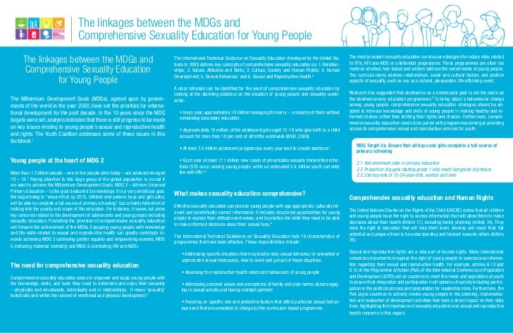 The linkages between the MDGs and                                      Comprehensive Sexuality Education for Young People ...