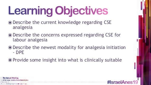 Labour Analgesia - CSE and DPE Slide 2