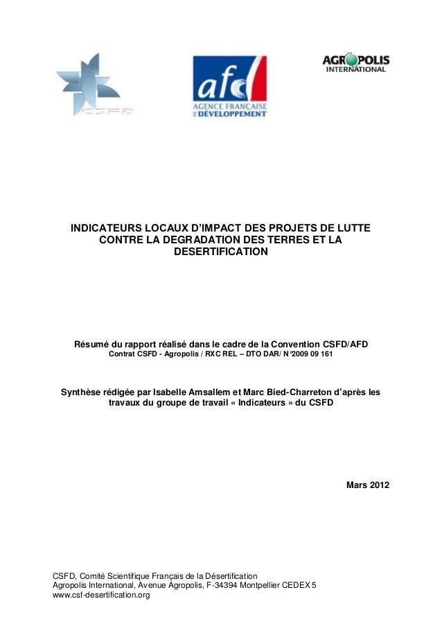 INDICATEURS LOCAUX D'IMPACT DES PROJETS DE LUTTE         CONTRE LA DEGRADATION DES TERRES ET LA                     DESERT...