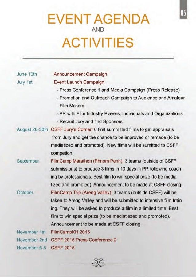 CSFFFilmCampKH 2015 Proposal – Event Agendas