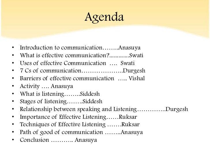 Agendau2022 Introduction To Communicationu2026u2026..Anasuyau2022 What Is Effective  Communication?