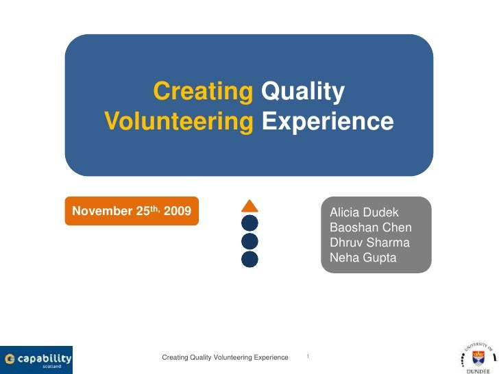 Creating Quality Volunteering Experience<br />1<br />Creating Quality<br />Volunteering Experience<br />Alicia Dudek<br />...