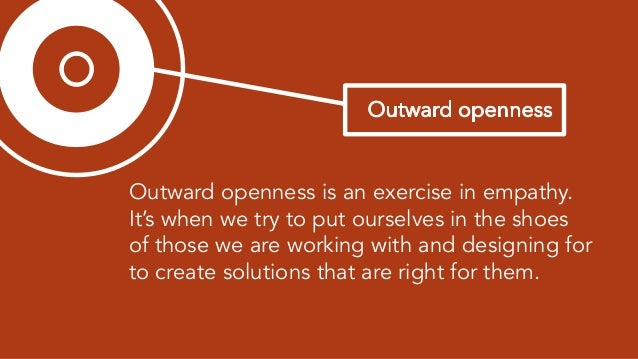 """3 easy ways to practice outward openness 1) Think """"with"""" not """"for"""" 2) Take your best idea off the table 3) Empathy map (in..."""