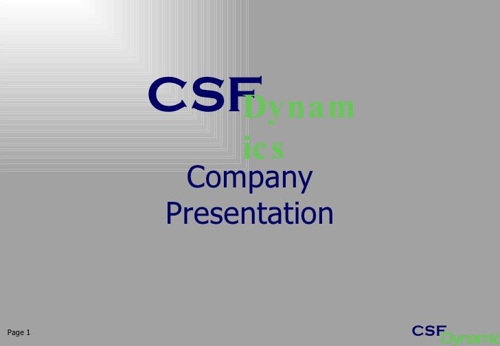 Page  Company Presentation CSF Dynamics