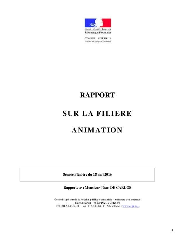 1 RAPPORT SUR LA FILIERE ANIMATION Séance Plénière du 18 mai 2016 Rapporteur : Monsieur Jésus DE CARLOS Conseil supérieur ...