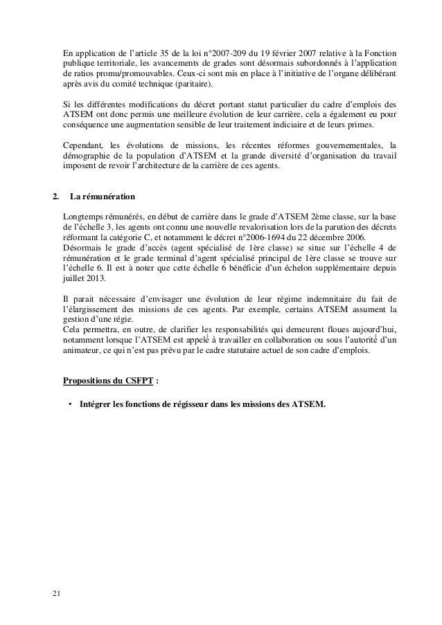 Rapport sur les atsem conseil sup rieur de la fonction - Grille evolution carriere fonction publique territoriale ...