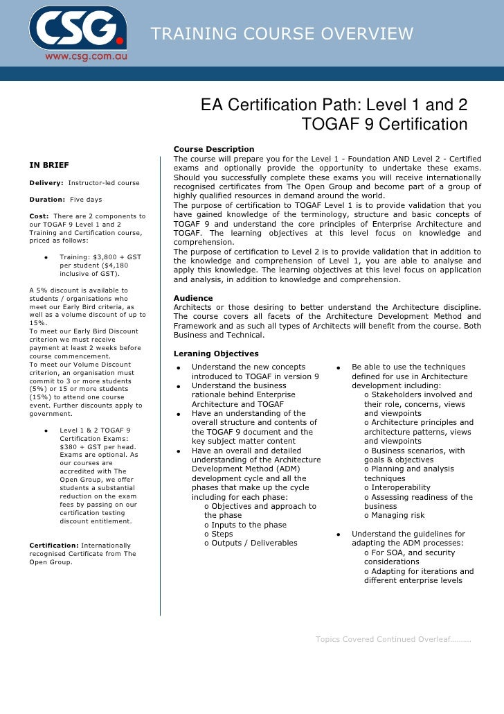 Csg Togaf 9 Certification Course Outline