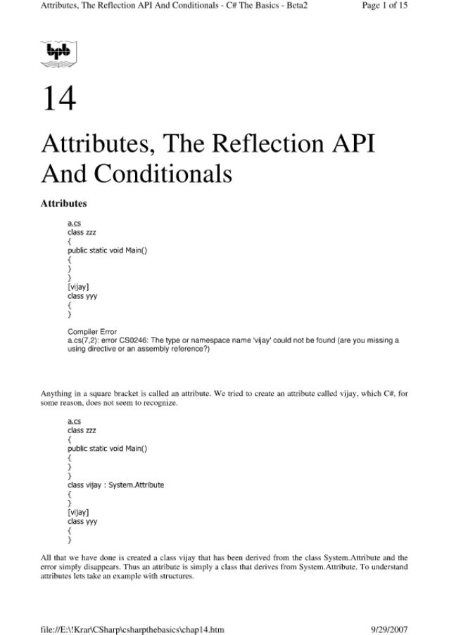 Attributes.  'l'hc Reflection API And Conditionals - Ct!  The Basics - Bctal Page I of IS  14  Attributes,  The Reflection ...