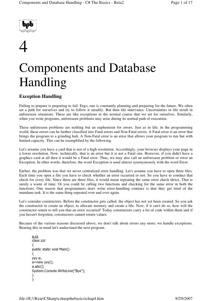 Components and Database Handling - C# The Basics - Beta2                                             Page 1 of 17     4 Co...