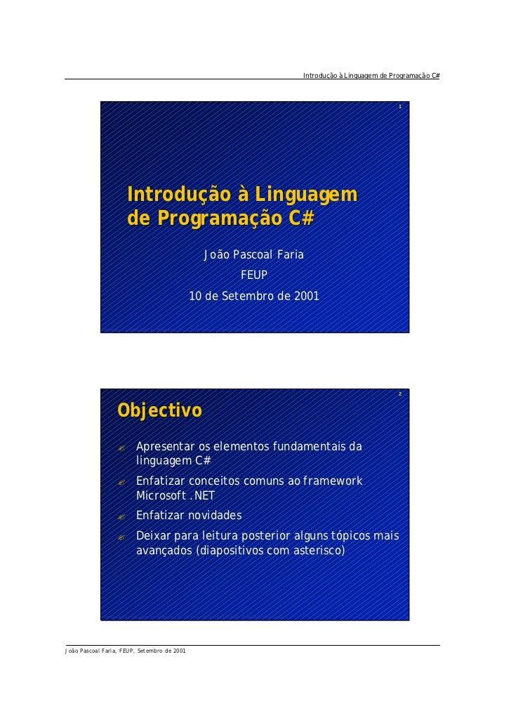 Introdução à Linguagem de Programação C#                                                                                  ...
