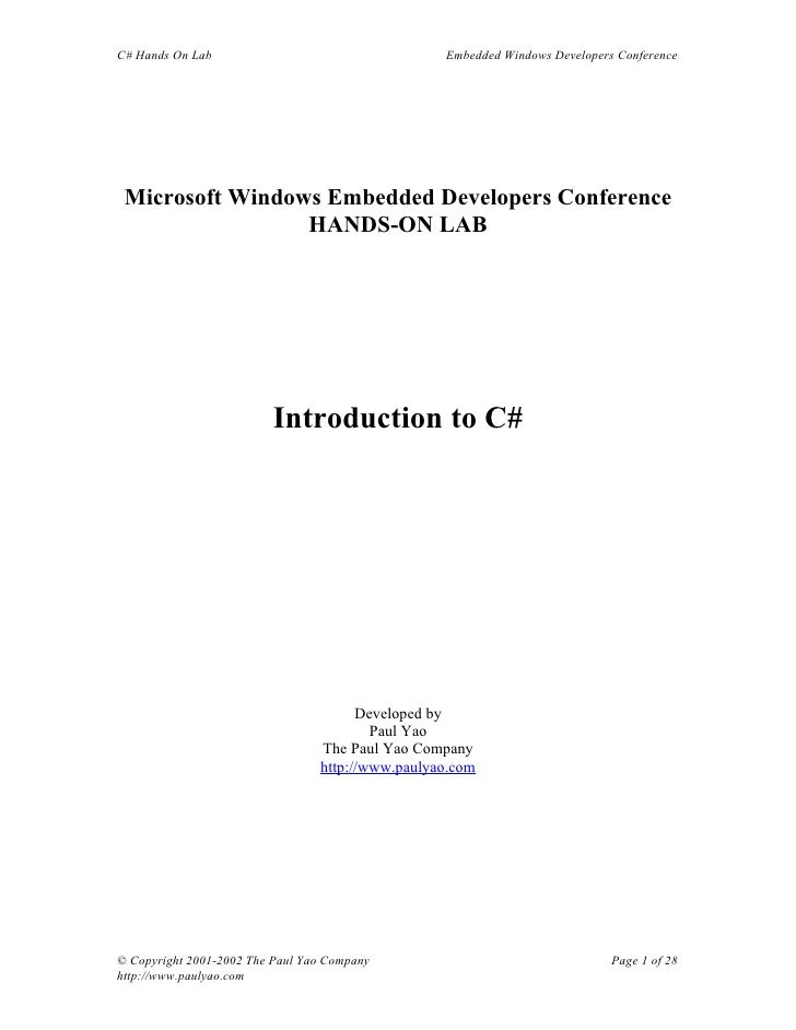 C# Hands On Lab                                   Embedded Windows Developers Conference      Microsoft Windows Embedded D...