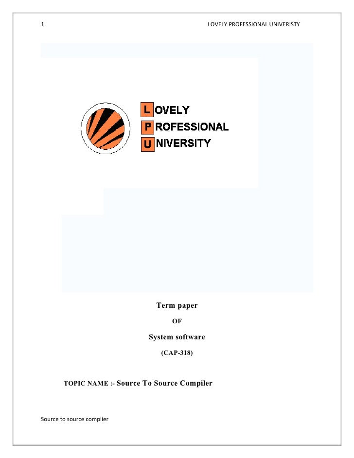 1                                               LOVELY PROFESSIONAL UNIVERISTY                                Term paper  ...