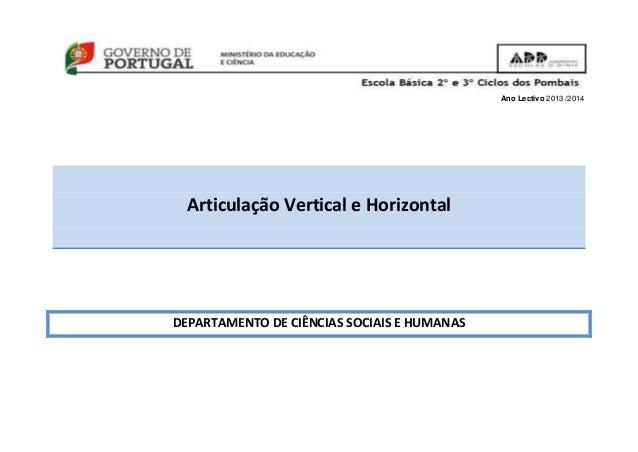 Ano Lectivo 2013 /2014 Articulação Vertical e Horizontal DEPARTAMENTO DE CIÊNCIAS SOCIAIS E HUMANAS