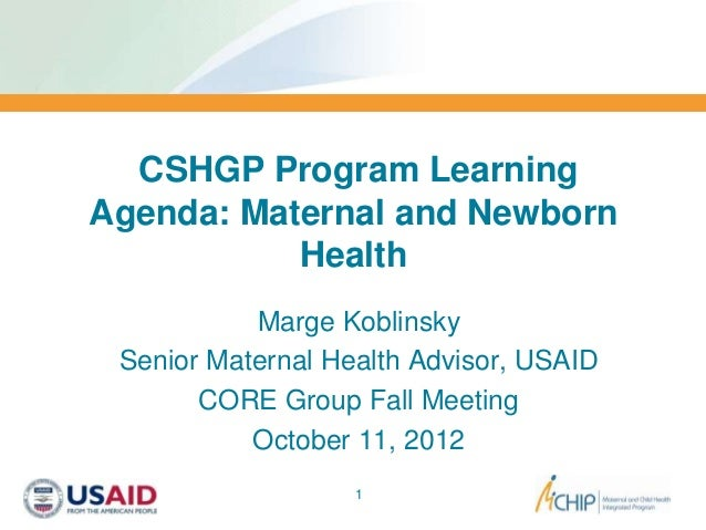 CSHGP Program LearningAgenda: Maternal and Newborn           Health           Marge Koblinsky Senior Maternal Health Advis...