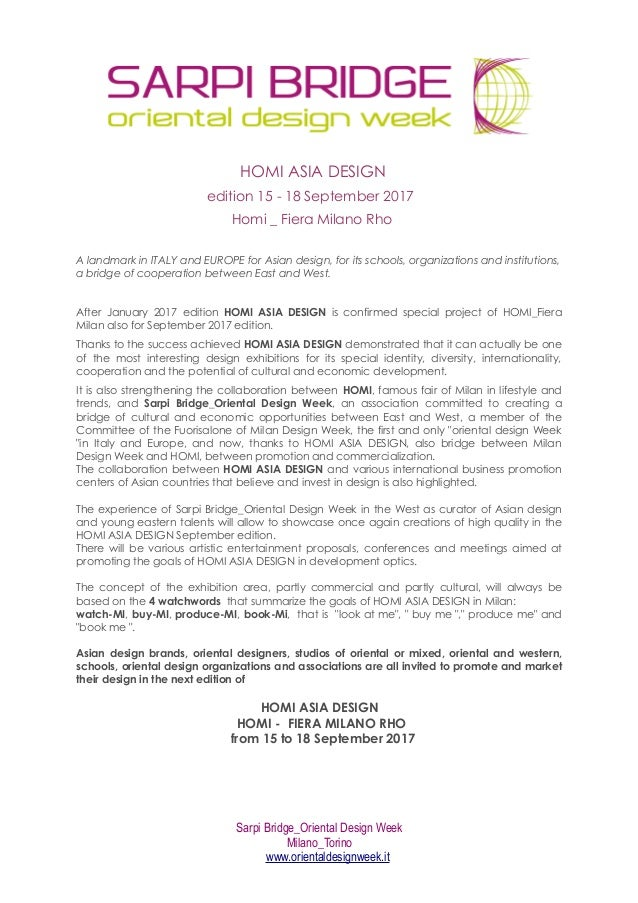 HOMI ASIA DESIGN Edition 15   18 September 2017 Homi _ Fiera Milano Rho A  Landmark ...