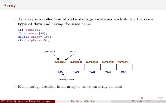 Array – An array is a collection of data storage locations, each storing the same type of data and having the same name. i...