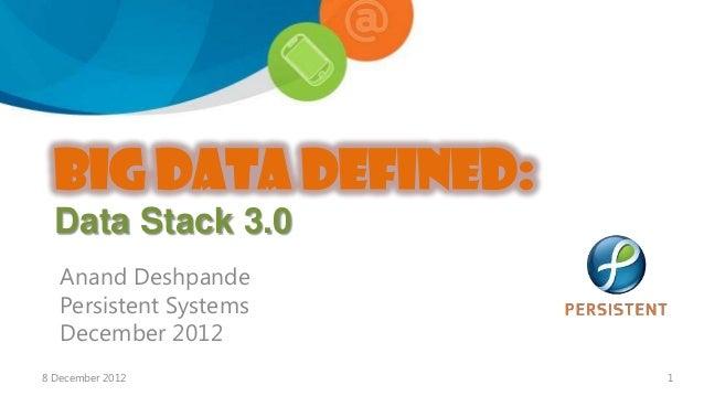BIG DATA Defined:  Data Stack 3.0   Anand Deshpande   Persistent Systems   December 20128 December 2012         1