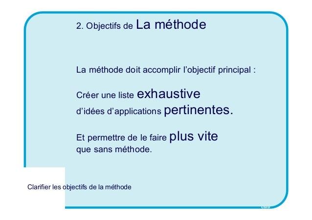 CSID 2. Objectifs de La méthode La méthode doit accomplir l'objectif principal : Créer une liste exhaustive d'idées d'appl...