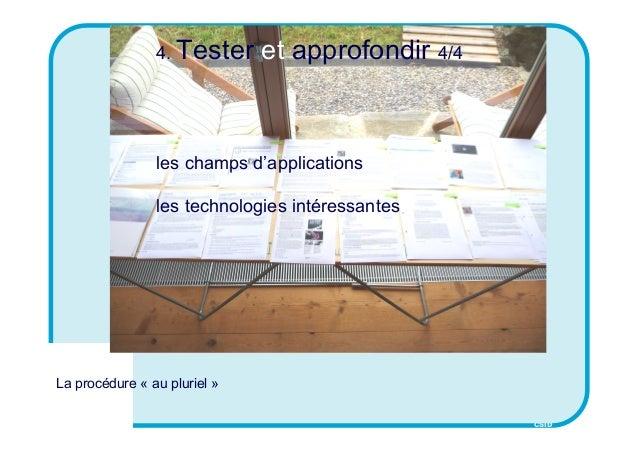 CSID 4. Tester et approfondir 4/4 les champs d'applications les technologies intéressantes La procédure « au pluriel »
