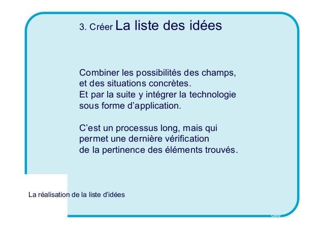 CSID 3. Créer La liste des idées Combiner les possibilités des champs, et des situations concrètes. Et par la suite y inté...