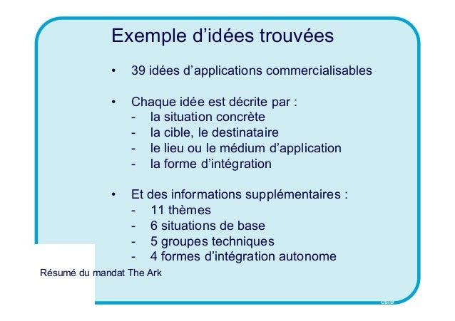 CSID Résumé du mandat The Ark Exemple d'idées trouvées • 39 idées d'applications commercialisables • Chaque idée est décri...