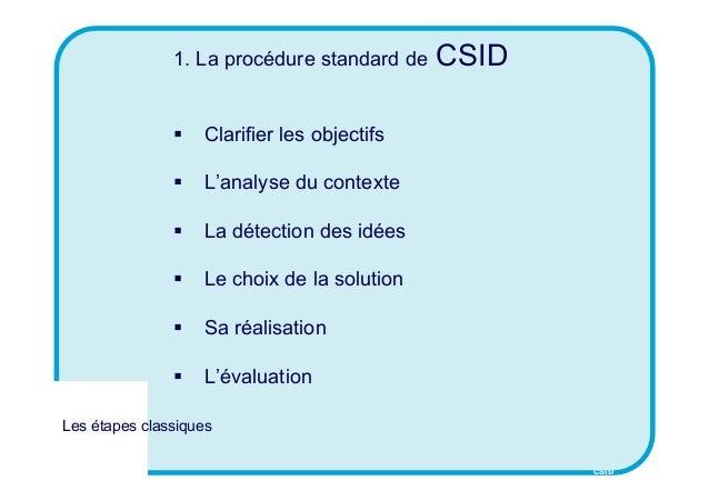 CSID 1. La procédure standard de CSID  Clarifier les objectifs  L'analyse du contexte  La détection des idées  Le choi...
