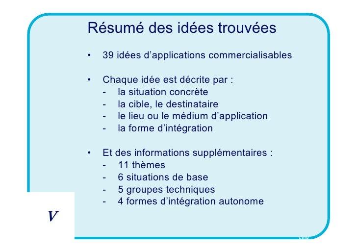Résumé des idées trouvées     •   39 idées d'applications commercialisables      •   Chaque idée est décrite par :        ...