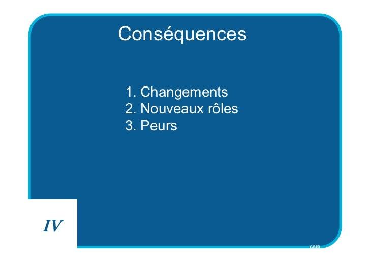 Conséquences     1. Changements     2. Nouveaux rôles     3. PeursIV                         CSID