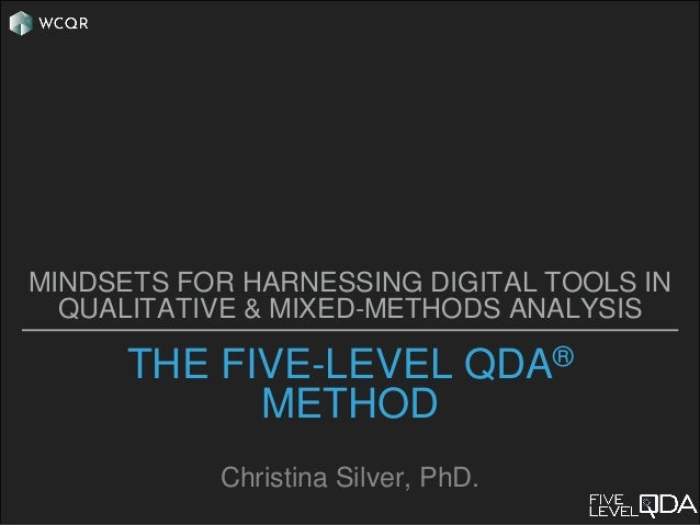 THE FIVE-LEVEL QDA® METHOD Christina Silver, PhD. MINDSETS FOR HARNESSING DIGITAL TOOLS IN QUALITATIVE & MIXED-METHODS ANA...