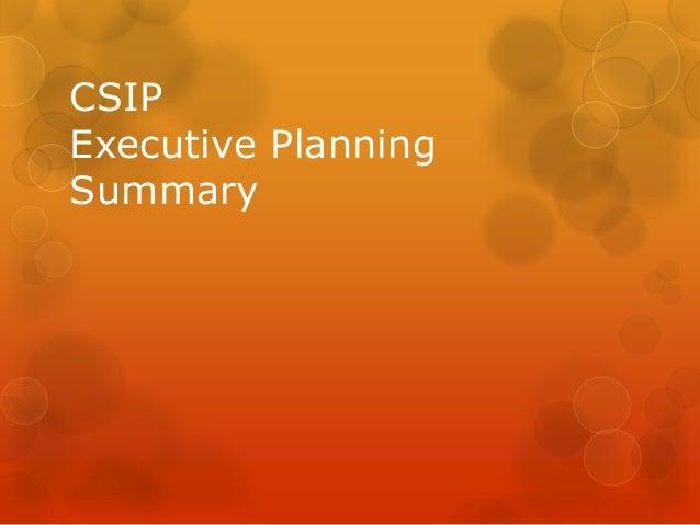 CSIP Executive Planning Summary