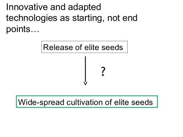 Innovative and adaptedtechnologies as starting, not endpoints…          Release of elite seeds                          ? ...