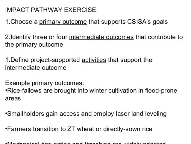 IMPACT PATHWAY EXERCISE:1.Choose a primary outcome that supports CSISA's goals2.Identify three or four intermediate outcom...