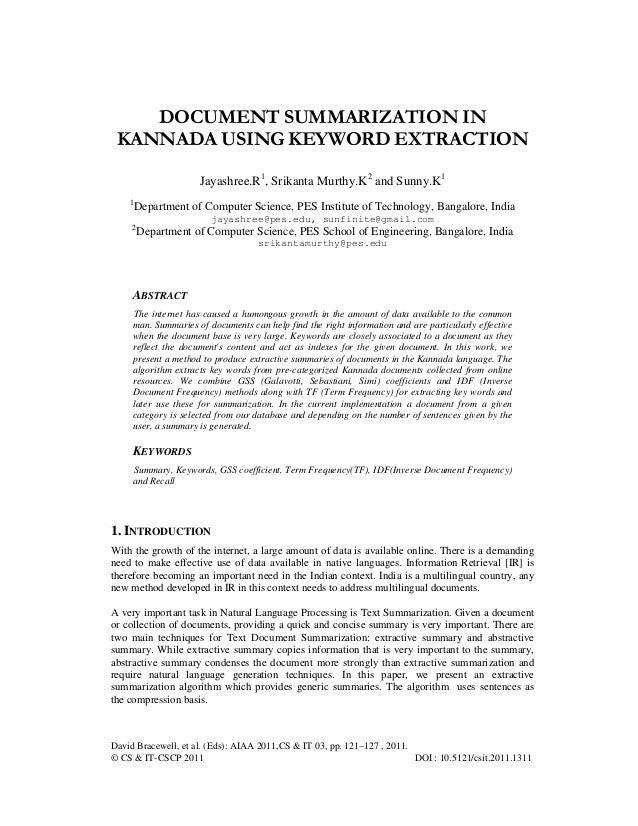 Document Summarization In Kannada Using Keyword Extraction