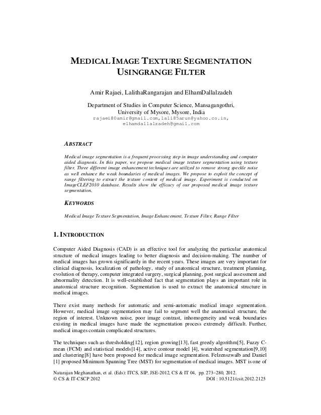 medical image texture segmentation usingrange filter