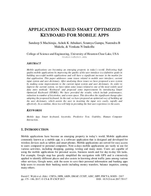 Application Based Smart Optimized Keyboard for Mobile Apps