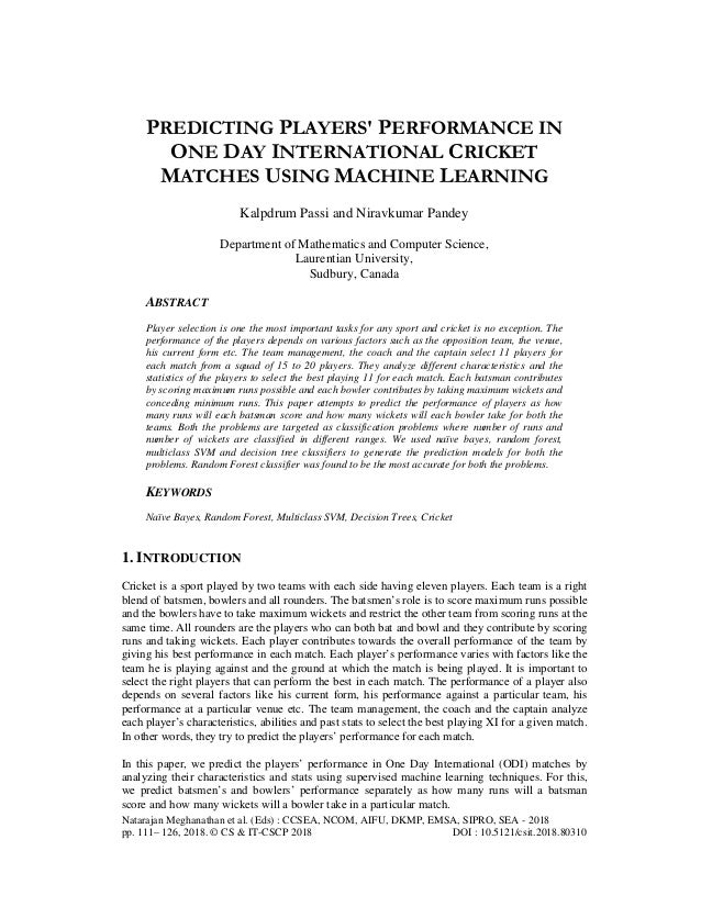 PREDICTING PLAYERS' PERFORMANCE IN ONE DAY INTERNATIONAL CRICKET MATC…