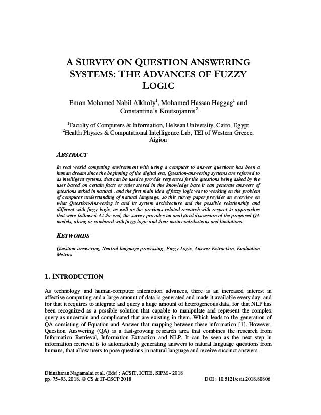 A SURVEY ON QUESTION ANSWERING SYSTEMS: THE ADVANCES OF FUZZY LOGIC