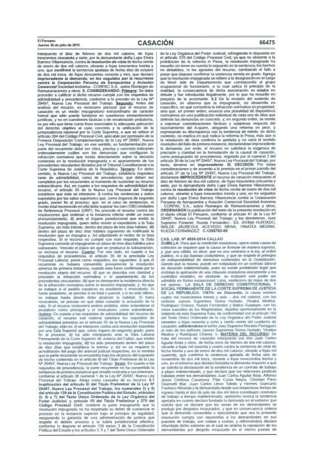 CSJ - Sentencia de Casación Laboral N° 4936-2014 Callao - La condición resolutoria como causal de extinción debe ser expre...