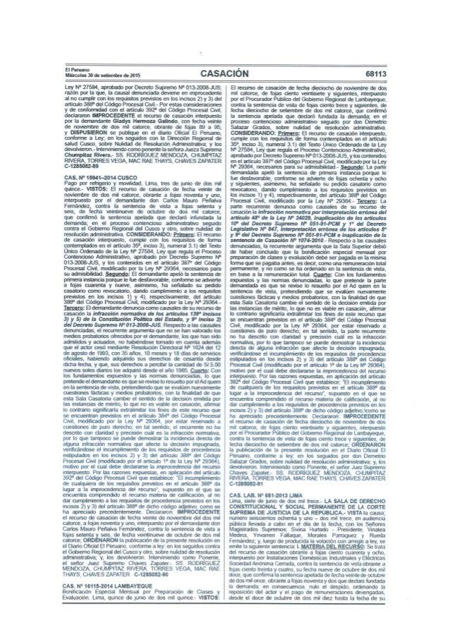 El Peruano Miércoles 30 de setiembre de 2015  CASACIÓN  68113     Ley N° 27584, aprobado por Decreto Supremo N° 013-2008JU...