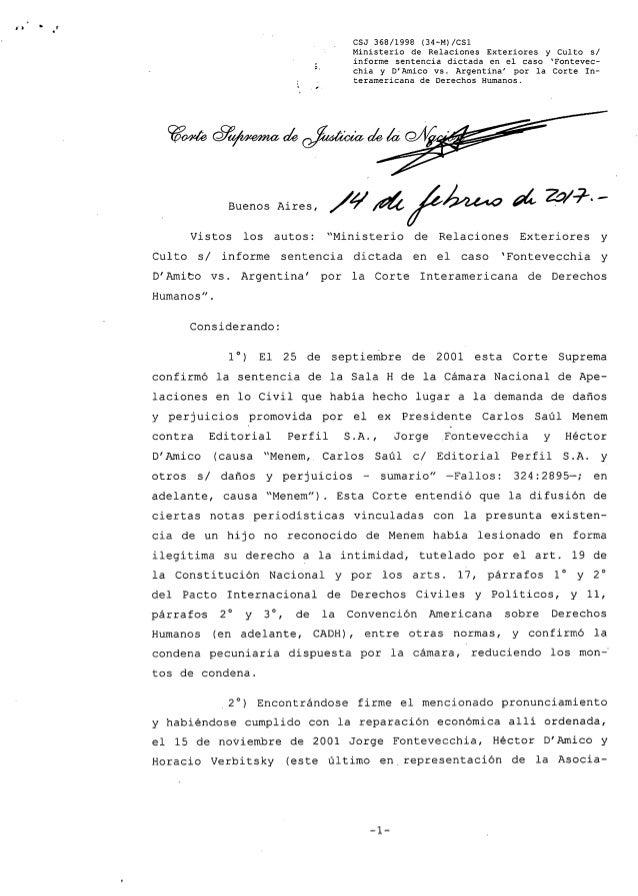 Relaciones exteriores y culto csjn fontevecchia bolilla 7 Ministerio de relaciones exteriores y culto