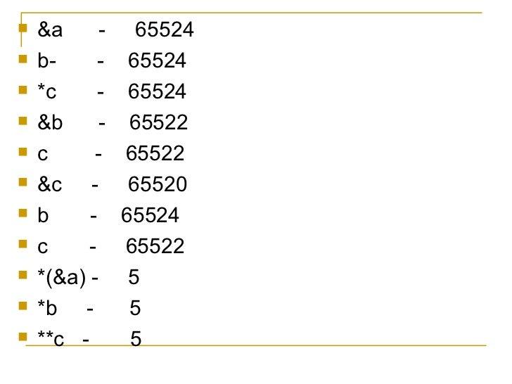 <ul><li>&a  -  65524 </li></ul><ul><li>b-  -  65524 </li></ul><ul><li>*c  -  65524 </li></ul><ul><li>&b  -  65522 </li></u...
