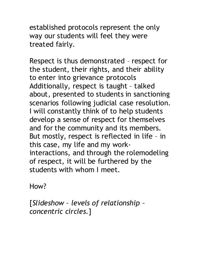 established protocols represent the only  way our students will feel they were  treated fairly.  Respect is thus demonstra...