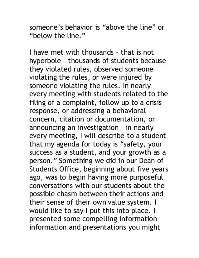 """someone's behavior is """"above the line"""" or  """"below the line.""""  I have met with thousands – that is not  hyperbole – thousan..."""
