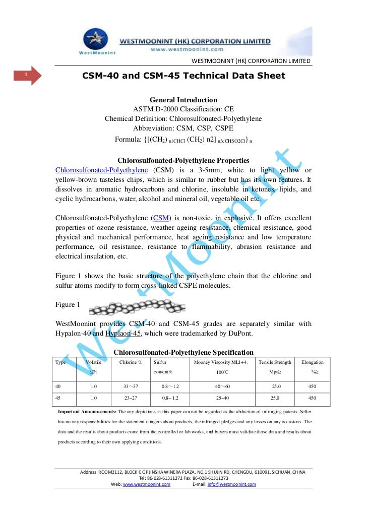WESTMOONINT (HK) CORPORATION LIMITED1                CSM-40 and CSM-45 Technical Data Sheet                               ...
