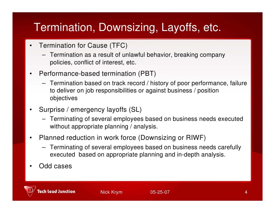 Management - Termination, Downsizing, Layoffs