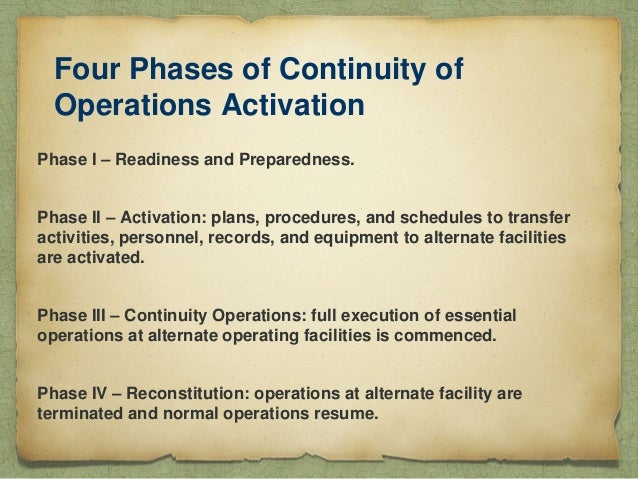 continuity of operations Continuity of operations (coop) coop planning is simply a good business  practice—part of the fundamental mission of agencies as responsible and  reliable.