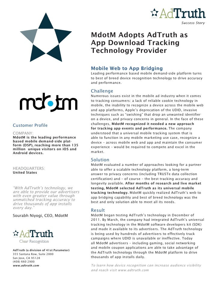 Success Story                                         MdotM Adopts AdTruth as                                         App ...